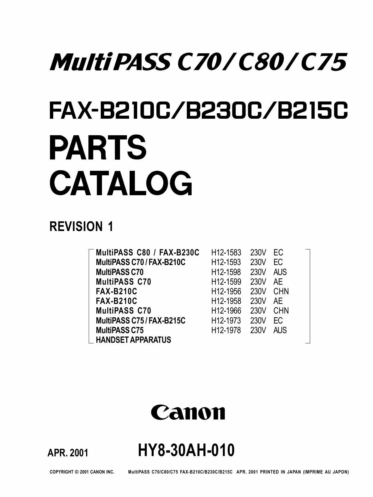 Canon FAX B210C B230C B215C Parts Catalog Manual-1